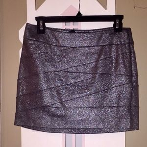Express Silver Mini Skirt 0 NWT